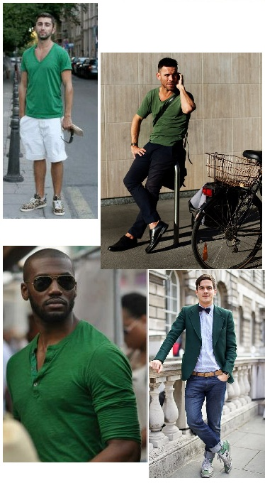 green shirts and suit